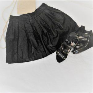 Forever 21 Faux Leather Pleated Black Mini Skirt